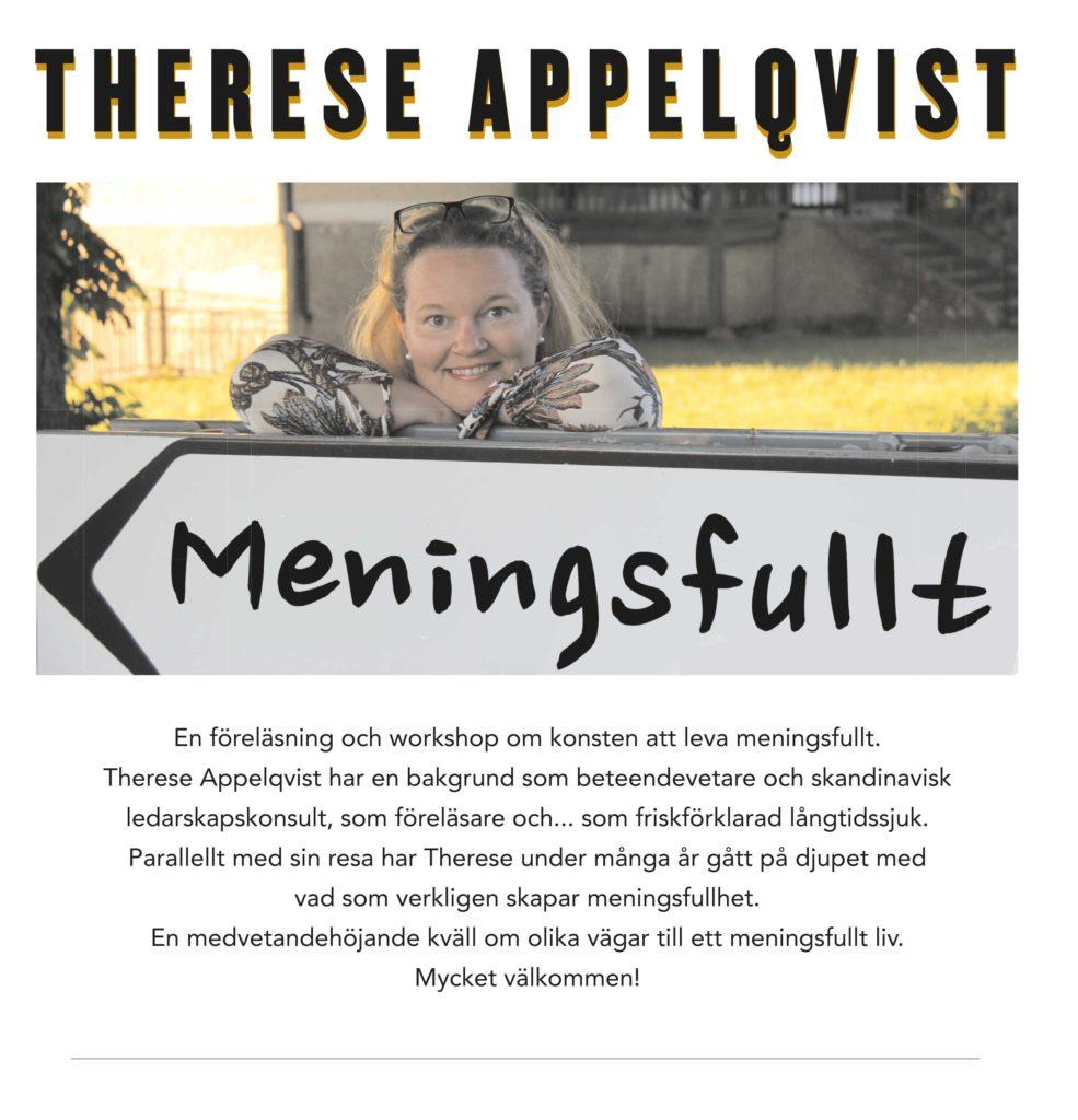Affisch föreläsning Therese Appelqvist